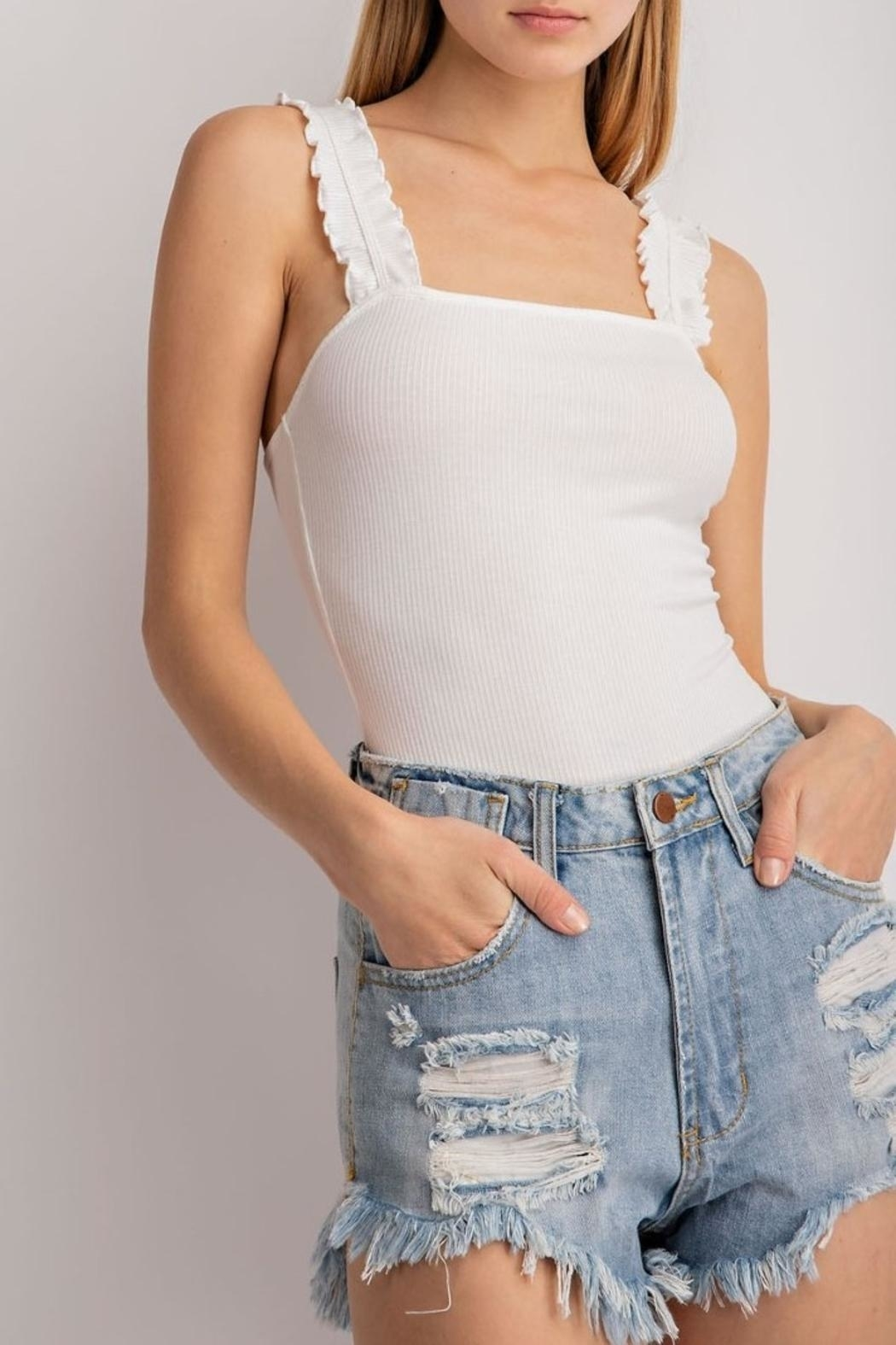 Le Lis Ribbed Ruffled Bodysuit - Front Cropped Image