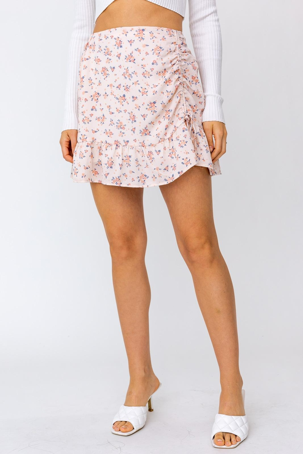 Le Lis Ruched Floral Mini Skirt - Front Full Image