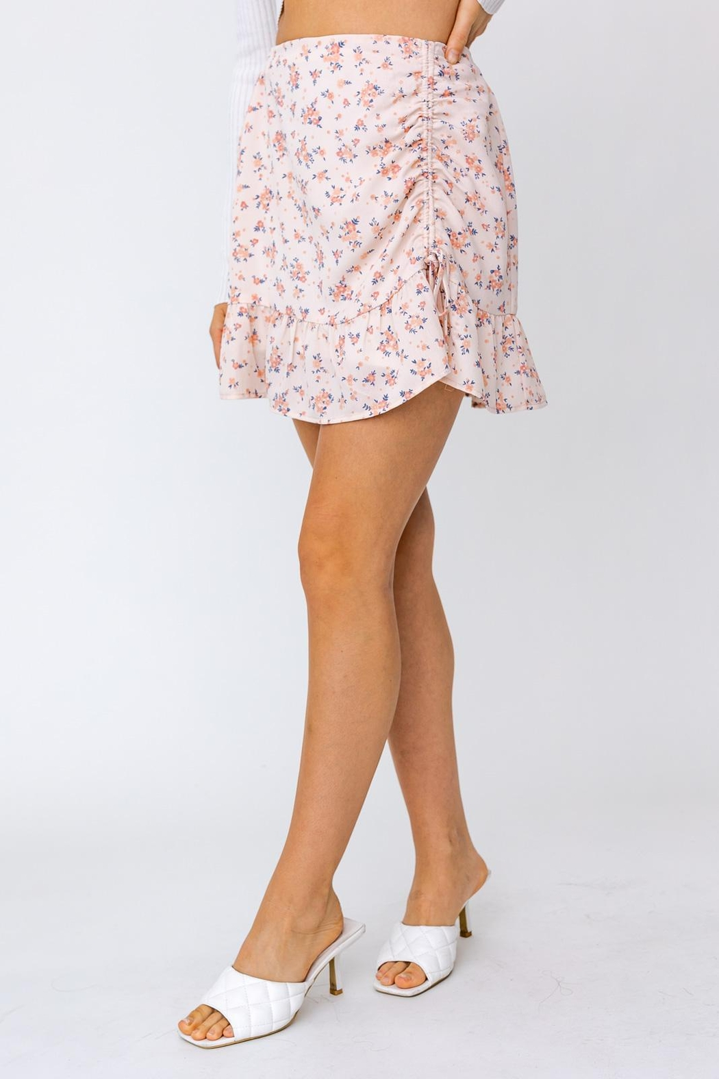 Le Lis Ruched Floral Mini Skirt - Back Cropped Image