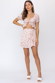 Le Lis Ruched Floral Mini Skirt - Product Mini Image