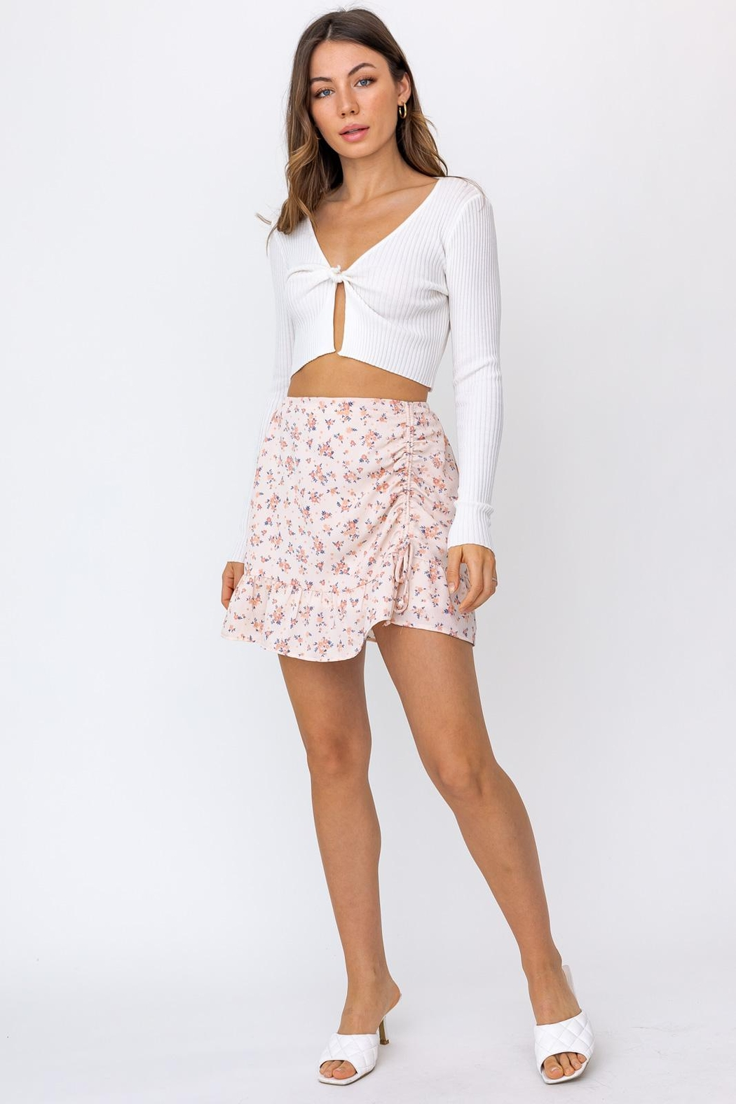 Le Lis Ruched Floral Mini Skirt - Side Cropped Image