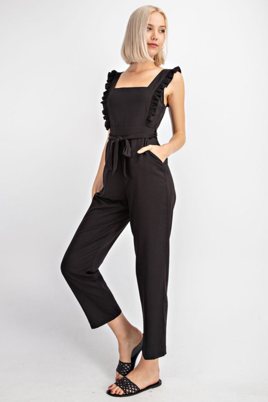 Le Lis Ruffled Tencel Jumpsuit - Front Full Image