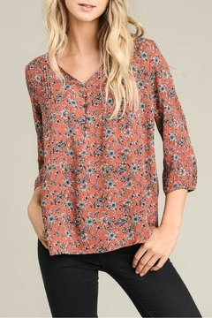 Le Lis Rust Flower Blouse - Product List Image