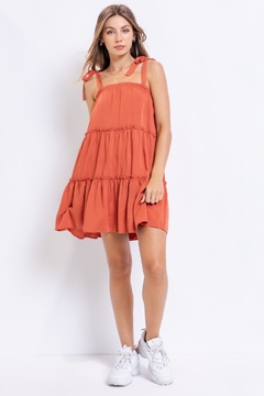 Shoptiques Product: Rust Tiered Dress