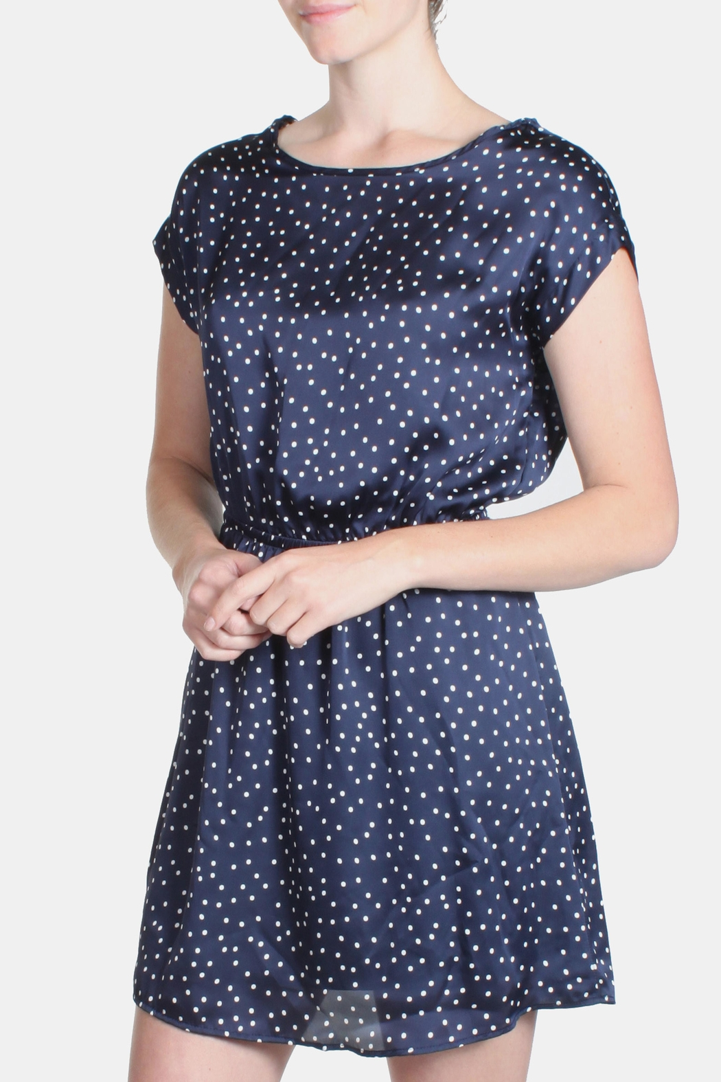 Le Lis Satin Polka Dot Dress - Side Cropped Image
