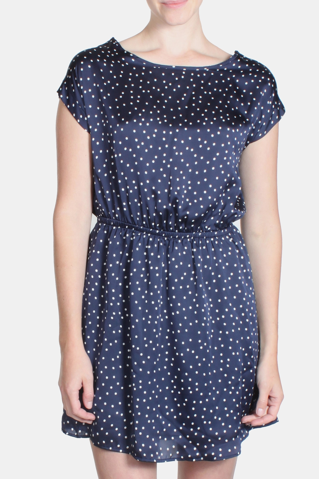 Le Lis Satin Polka Dot Dress - Front Full Image