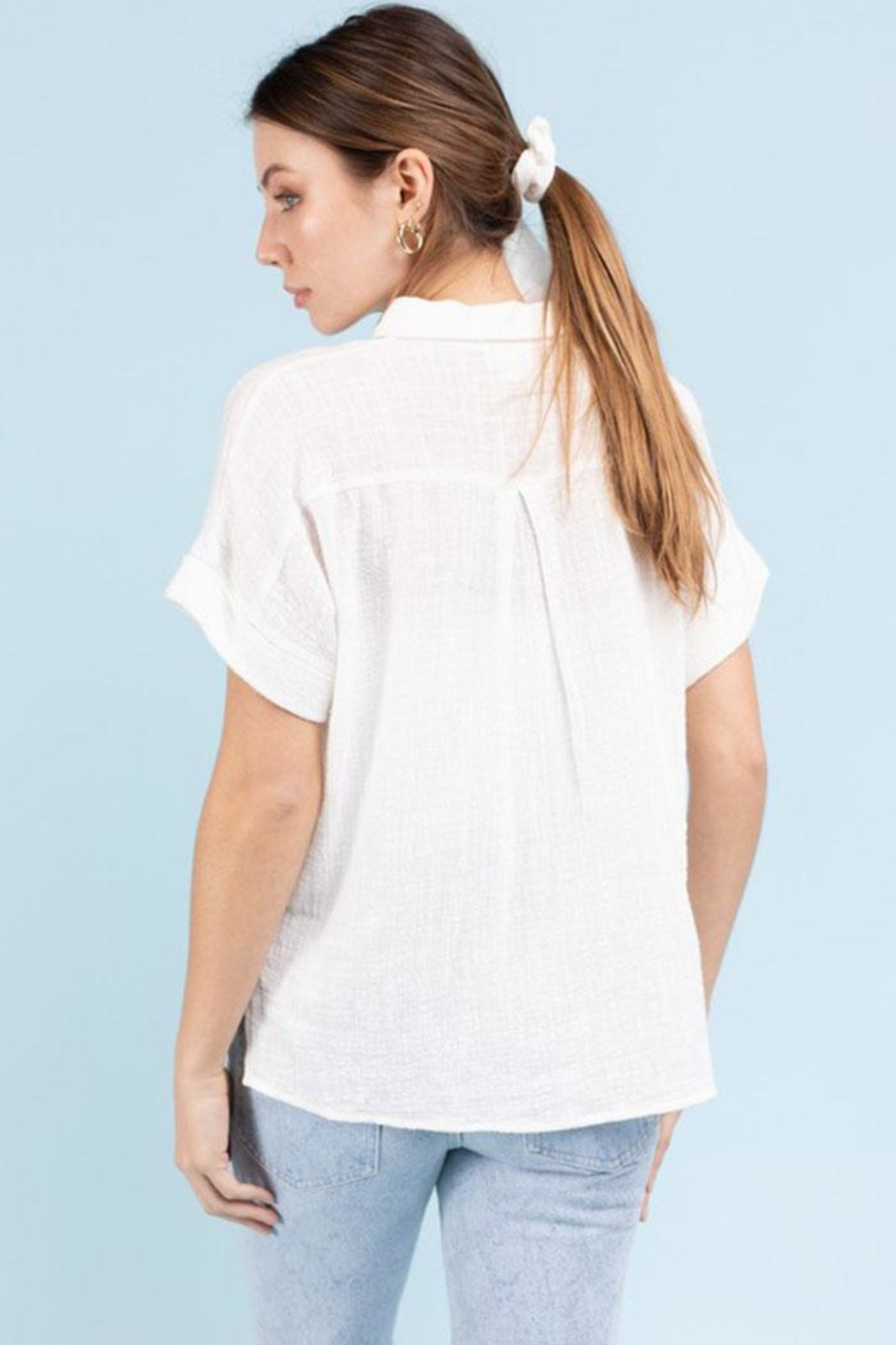 Le Lis Short-Sleeve Button-Down Top - Front Full Image