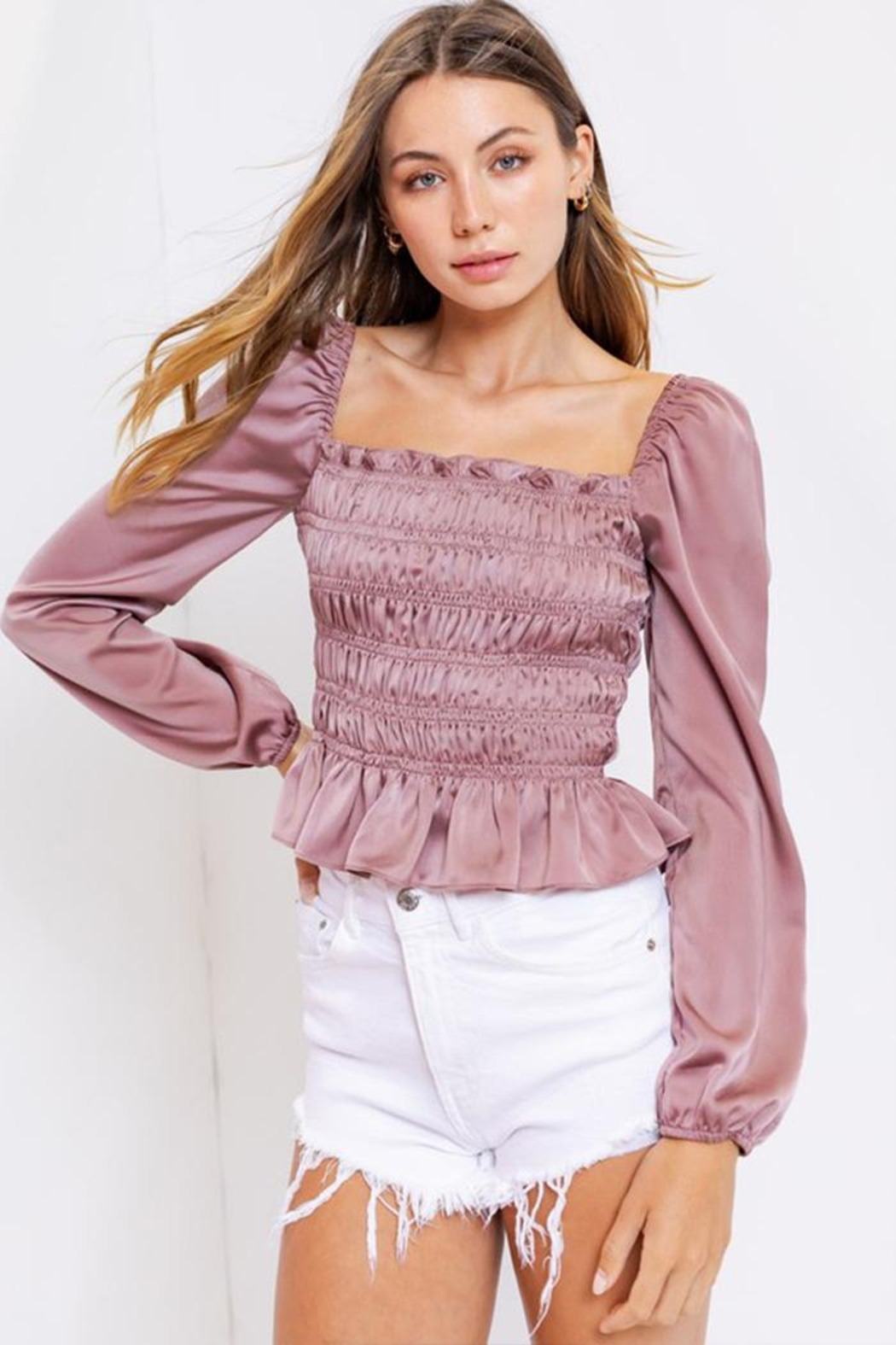 Le Lis Square-Neck Shirring Blouse - Main Image