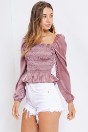 Le Lis Square-Neck Shirring Blouse - Front full body