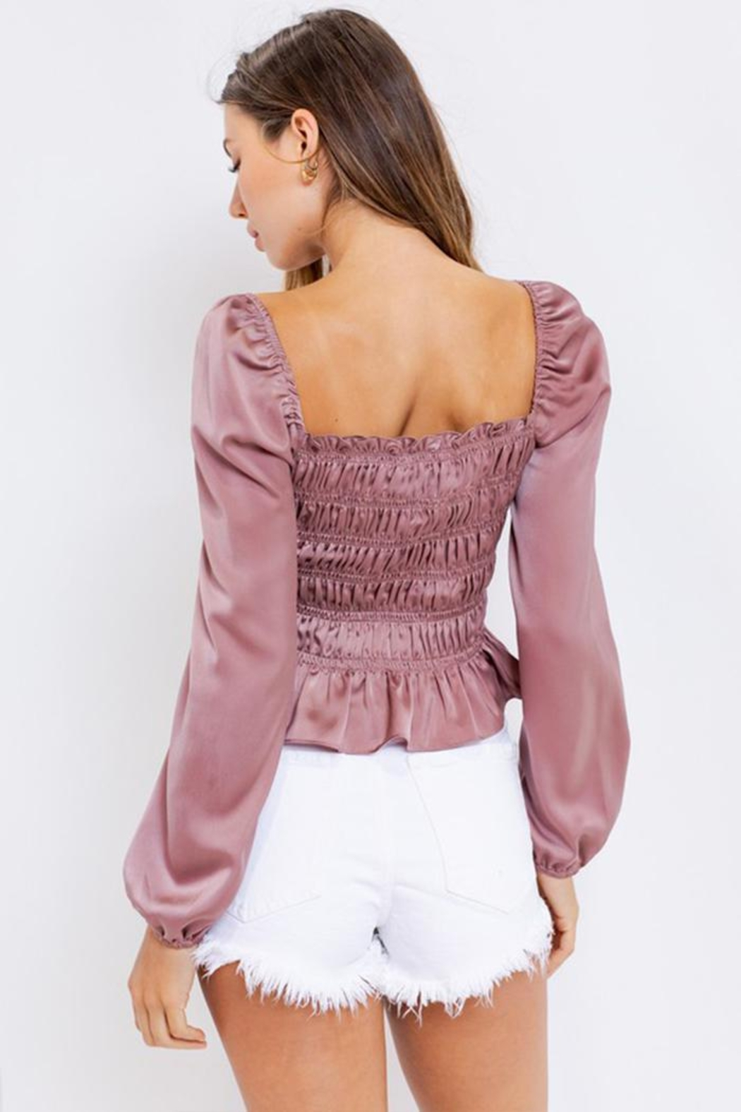 Le Lis Square-Neck Shirring Blouse - Side Cropped Image