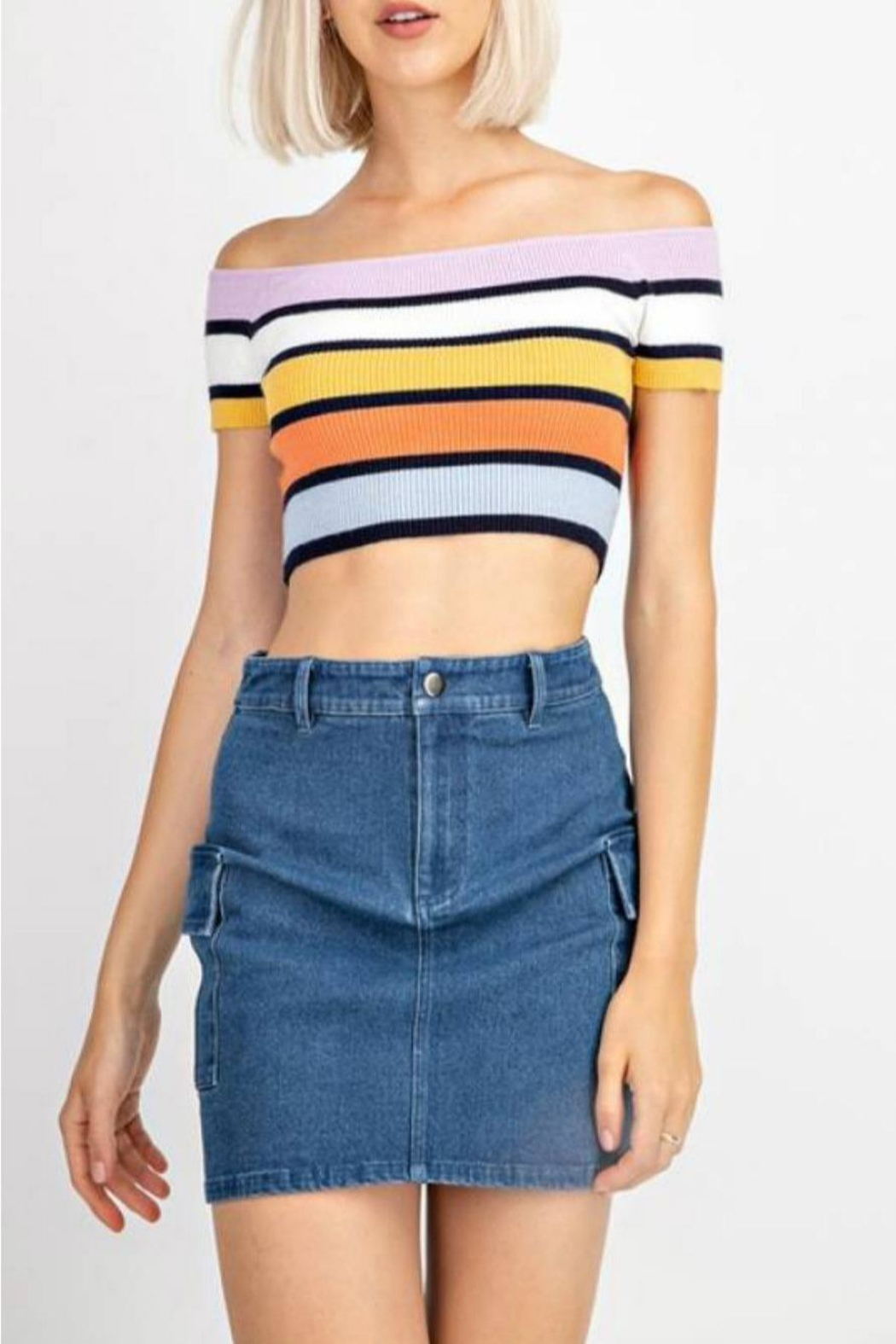 Le Lis Stripe Sweater Crop - Main Image