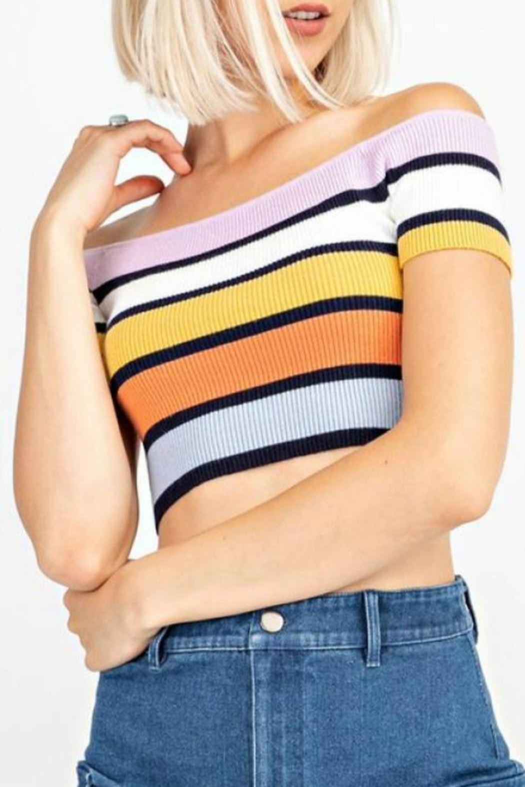 Le Lis Stripe Sweater Crop - Front Full Image