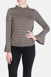 Le Lis Striped Ruffle Neck Blouse - Product Mini Image