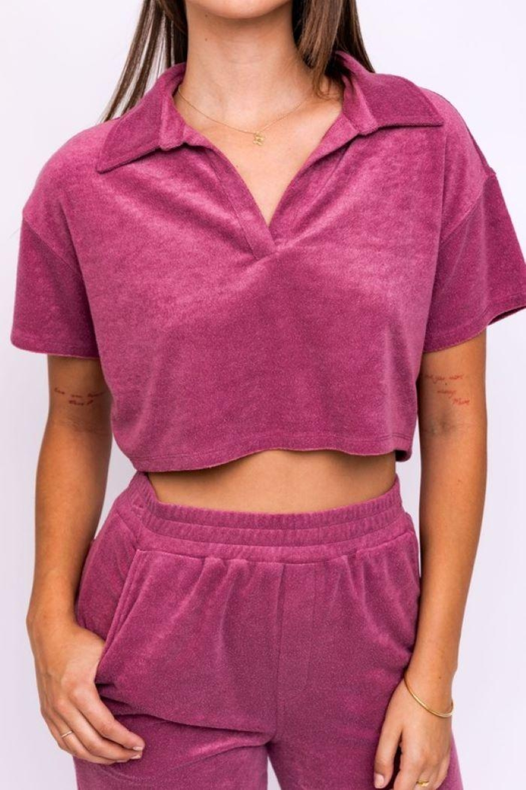 Le Lis Terry Collared Crop Top - Side Cropped Image