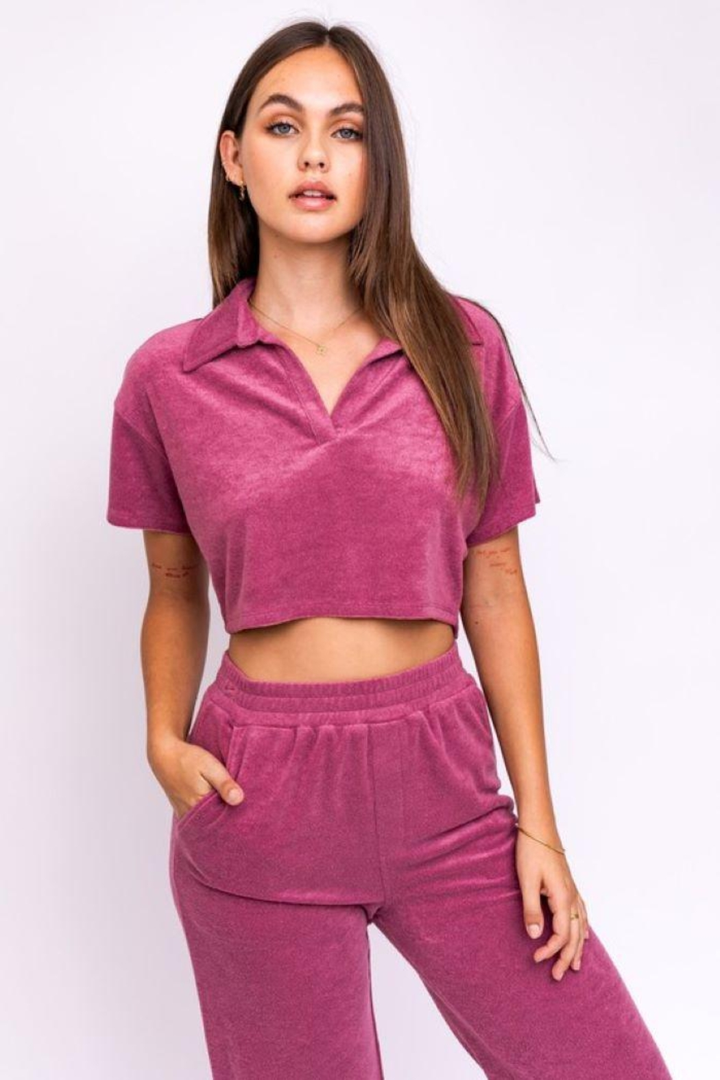 Le Lis Terry Collared Crop Top - Main Image