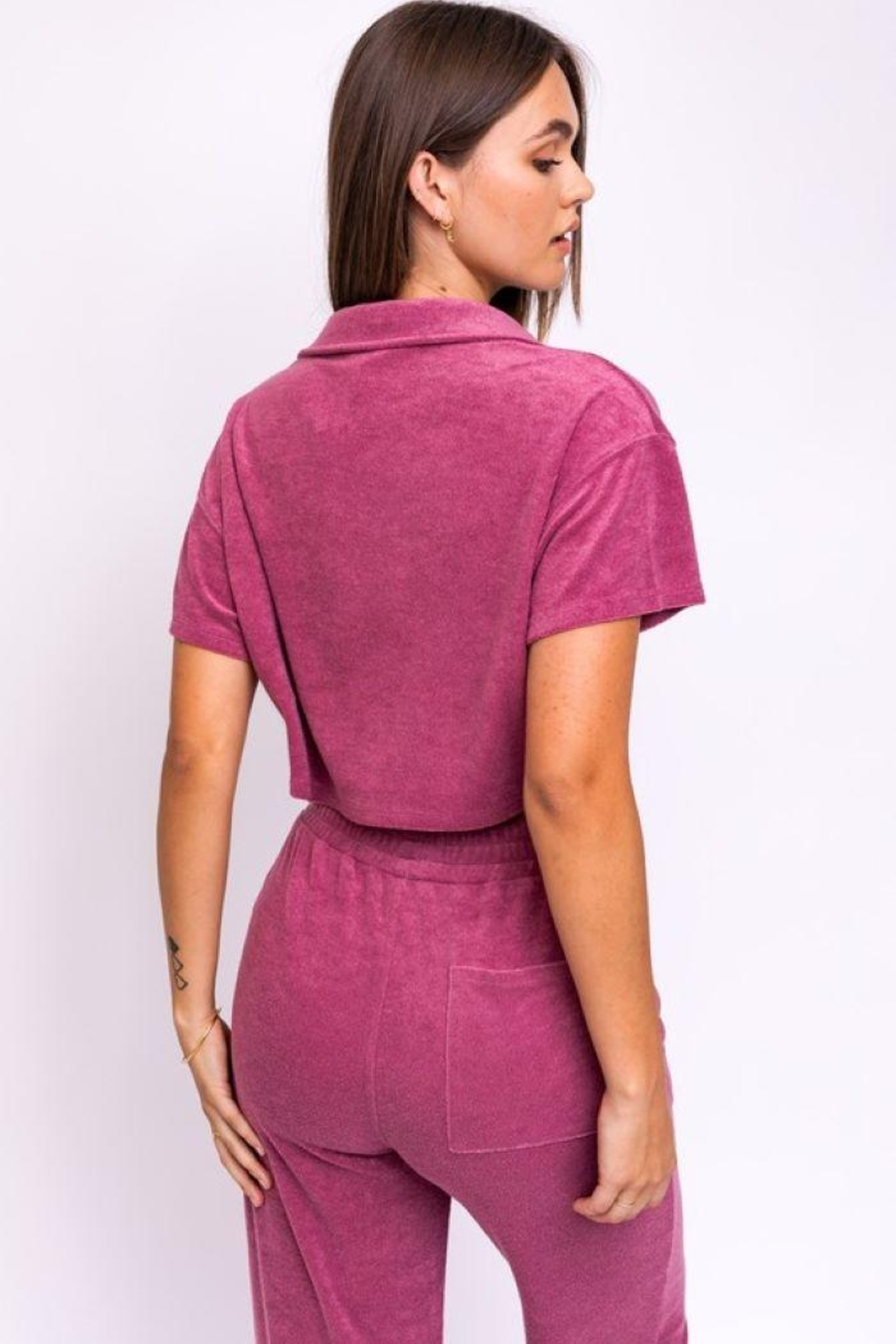Le Lis Terry Collared Crop Top - Back Cropped Image