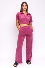Le Lis Terry Wide Leg Pants - Front full body