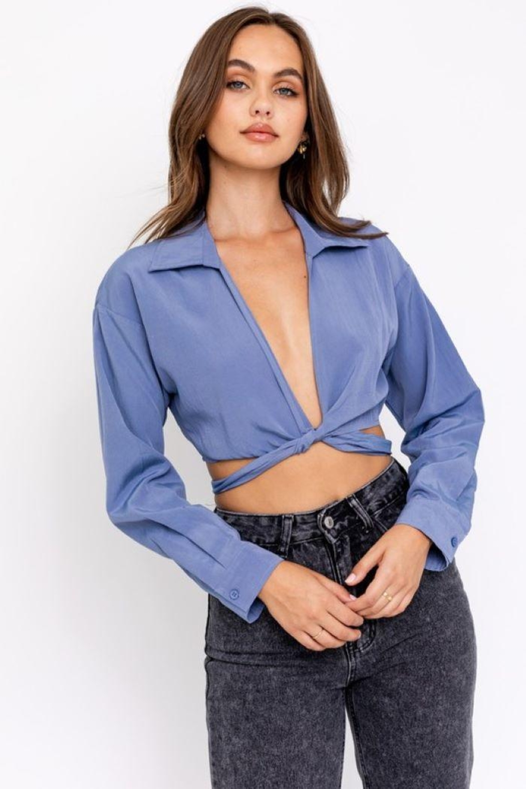Le Lis Tie Detail Shirt Top - Side Cropped Image