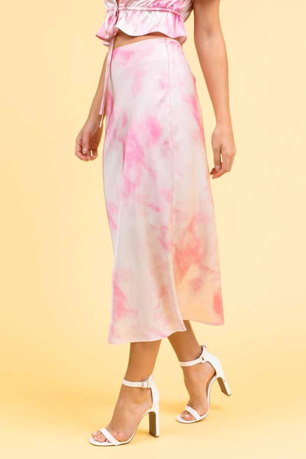 Le Lis Tie-Dye Midi Skirt - Front Cropped Image