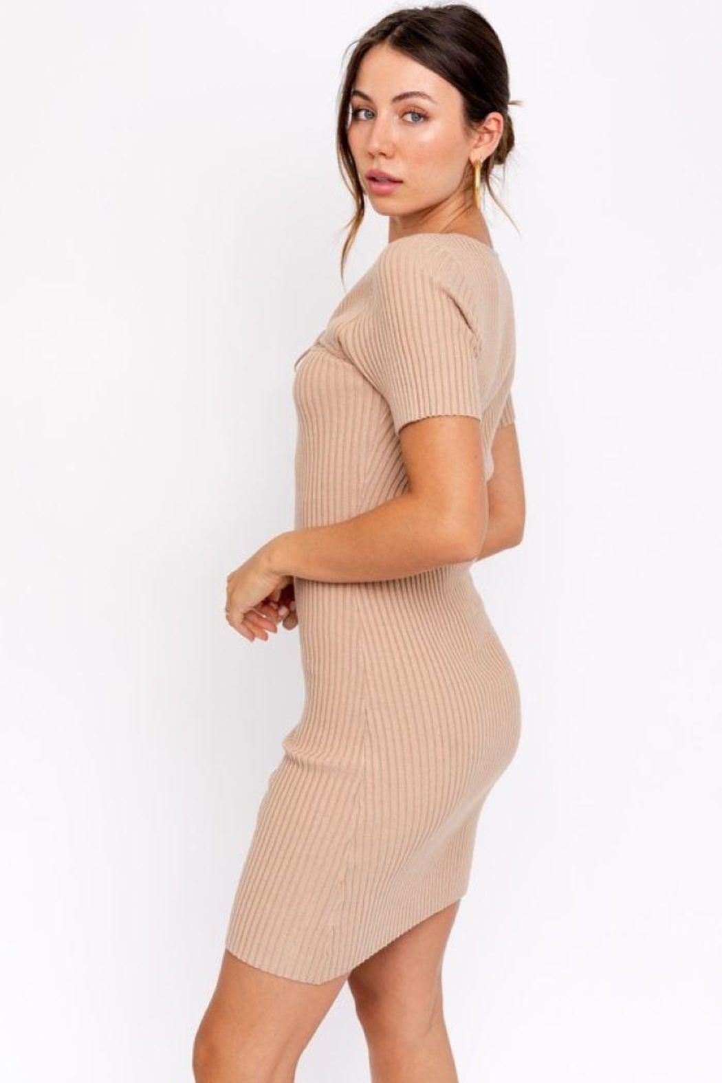 Le Lis Tie Front  Sweater Dress - Back Cropped Image