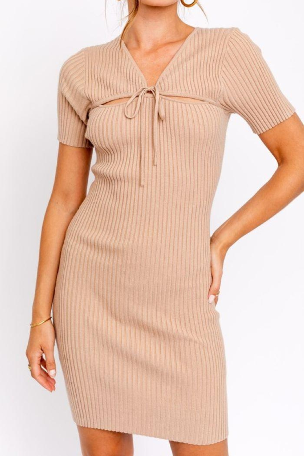 Le Lis Tie Front  Sweater Dress - Front Full Image