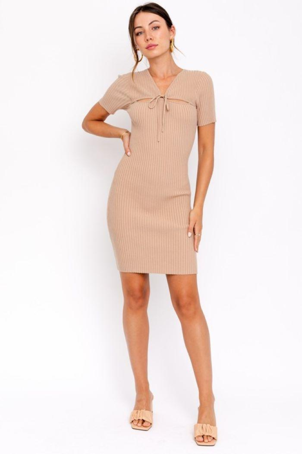 Le Lis Tie Front  Sweater Dress - Side Cropped Image