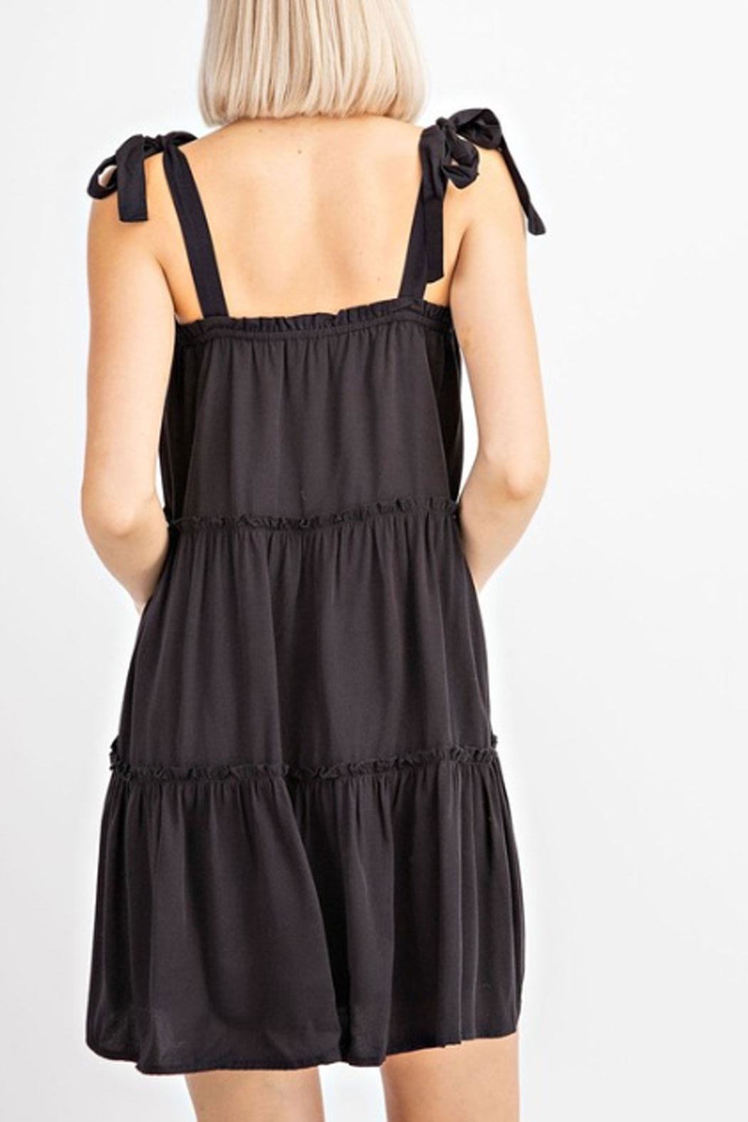 Le Lis Tiered Black Dress - Front Full Image