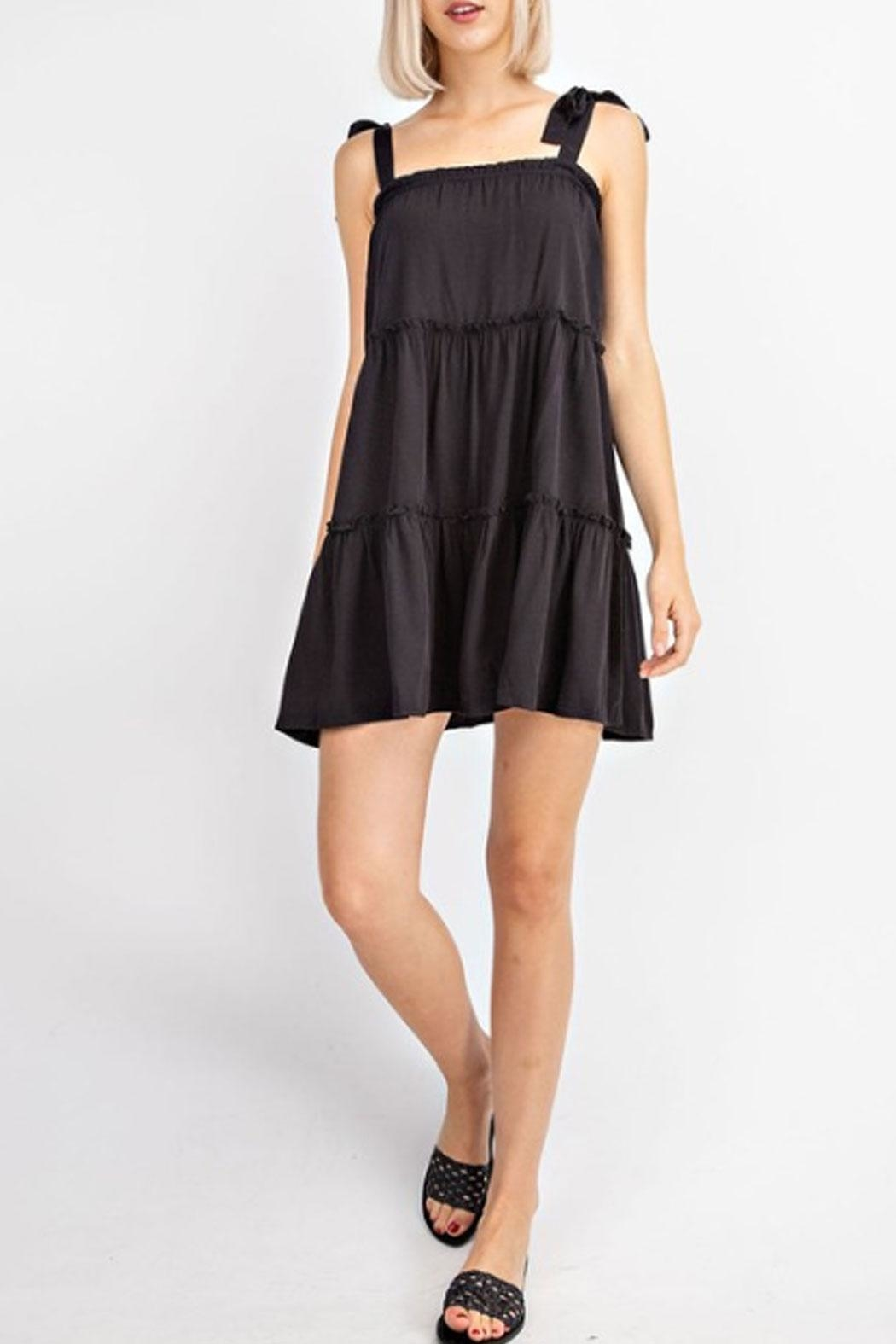 Le Lis Tiered Black Dress - Side Cropped Image
