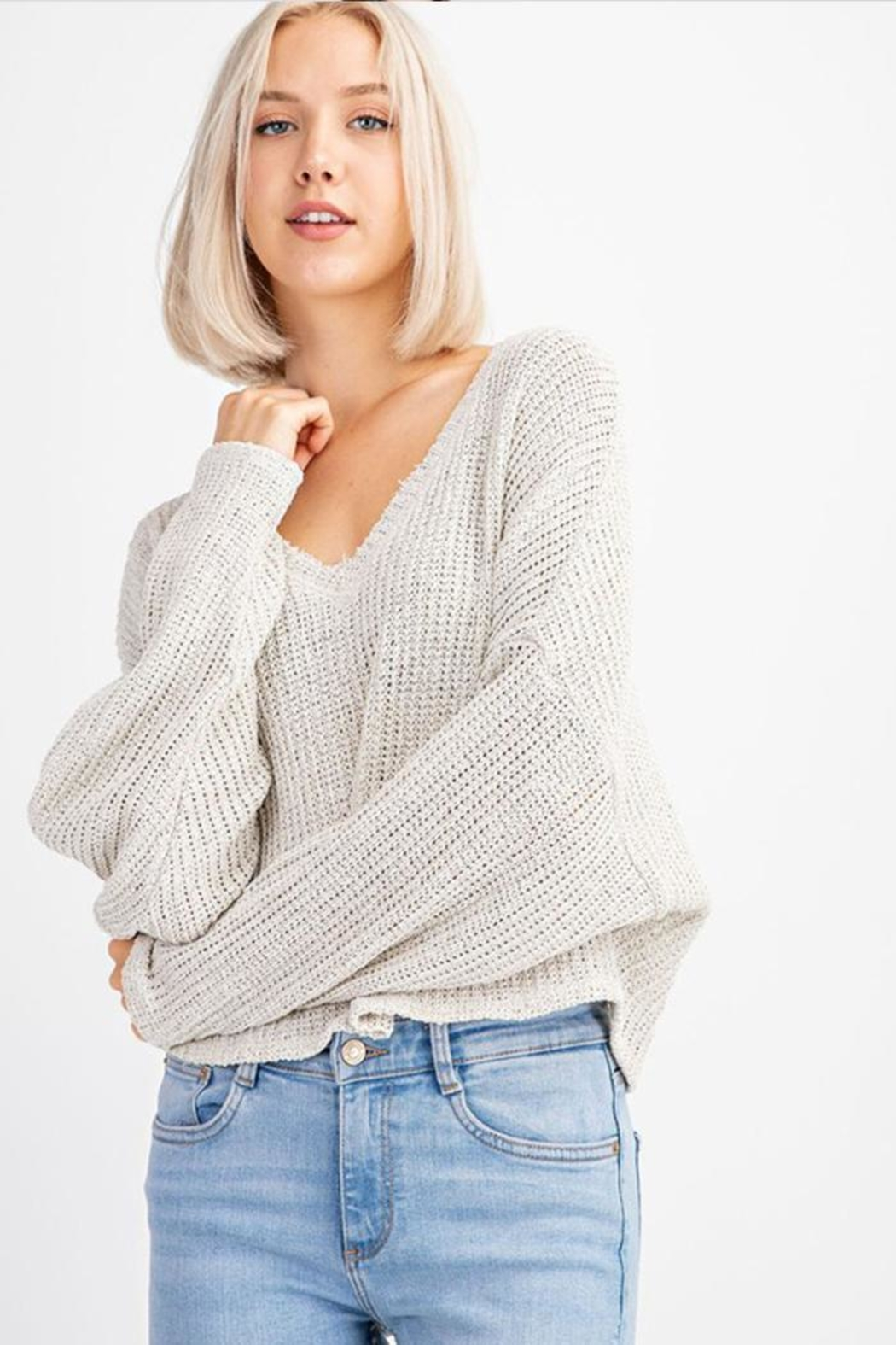 Le Lis V-Neck Sweater Top - Main Image