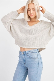 Le Lis V-Neck Sweater Top - Front full body