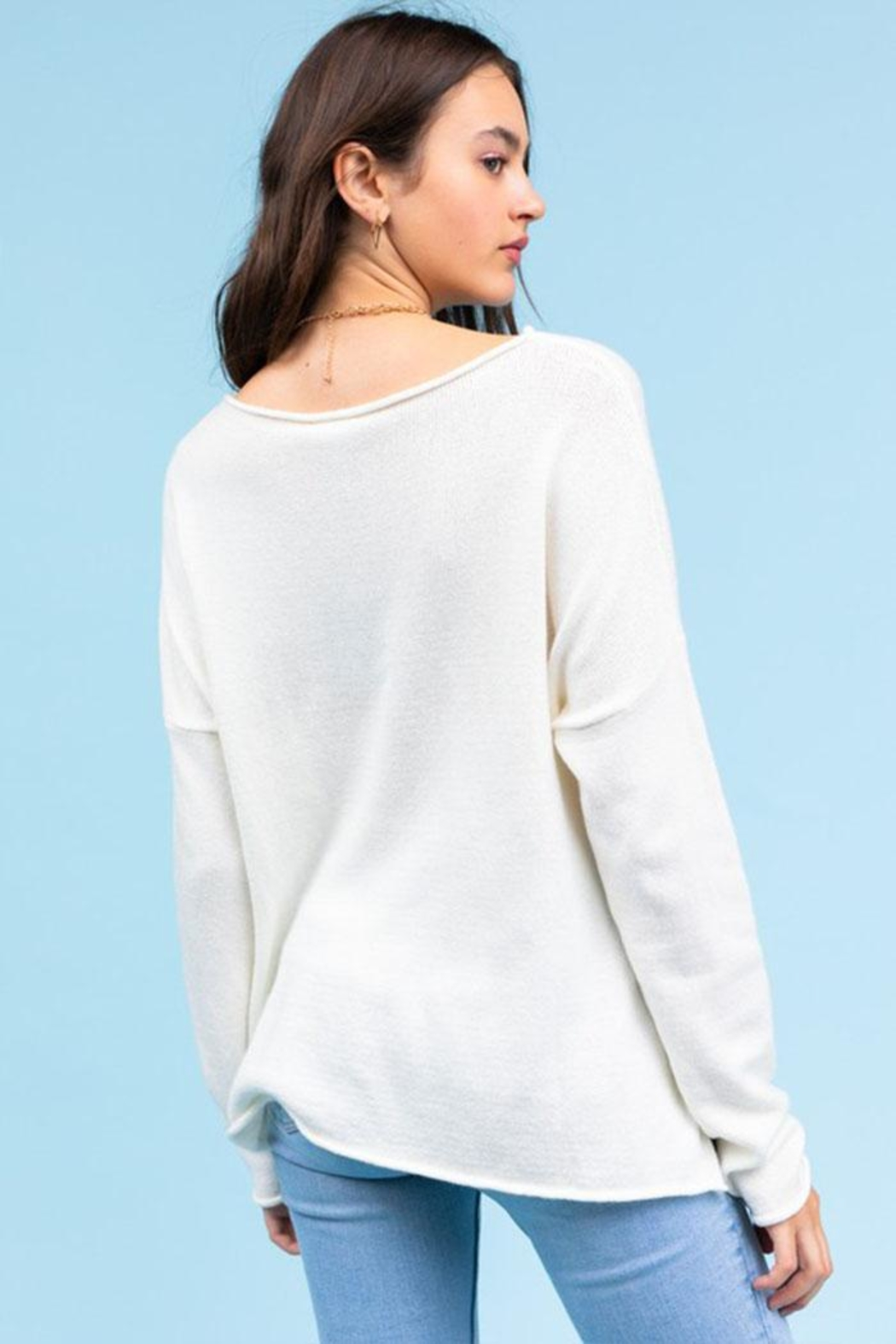 Le Lis Vacay Lightweight Sweater - Back Cropped Image