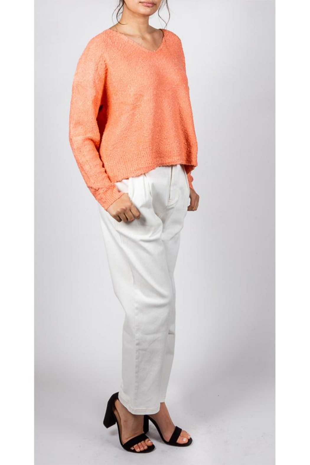 Le Lis White Canvas Trousers - Front Full Image