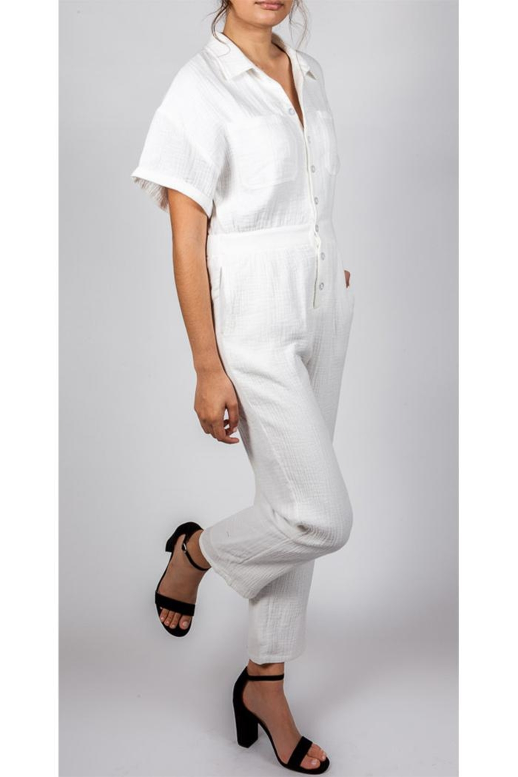 Le Lis Working-Girl Cotton Jumpsuit - Side Cropped Image