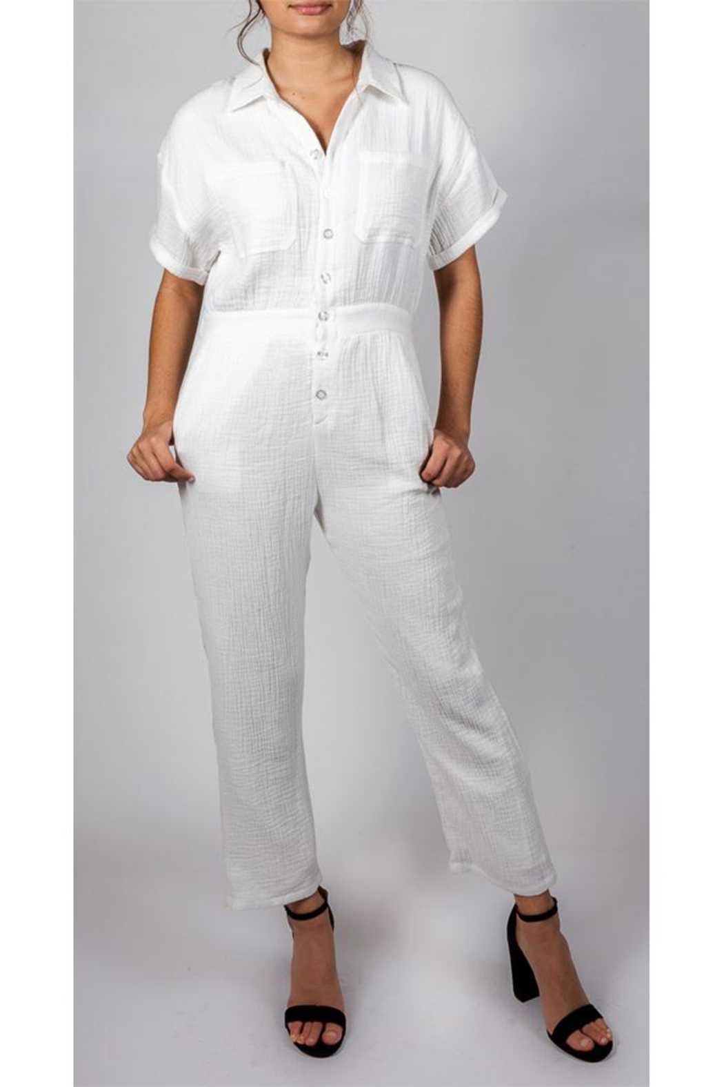 Le Lis Working-Girl Cotton Jumpsuit - Front Full Image