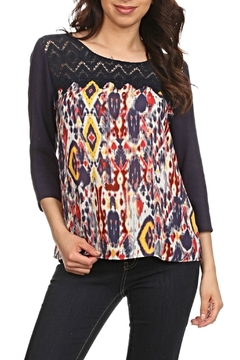LE SAMPLE Crochet Print Blouse - Product List Image