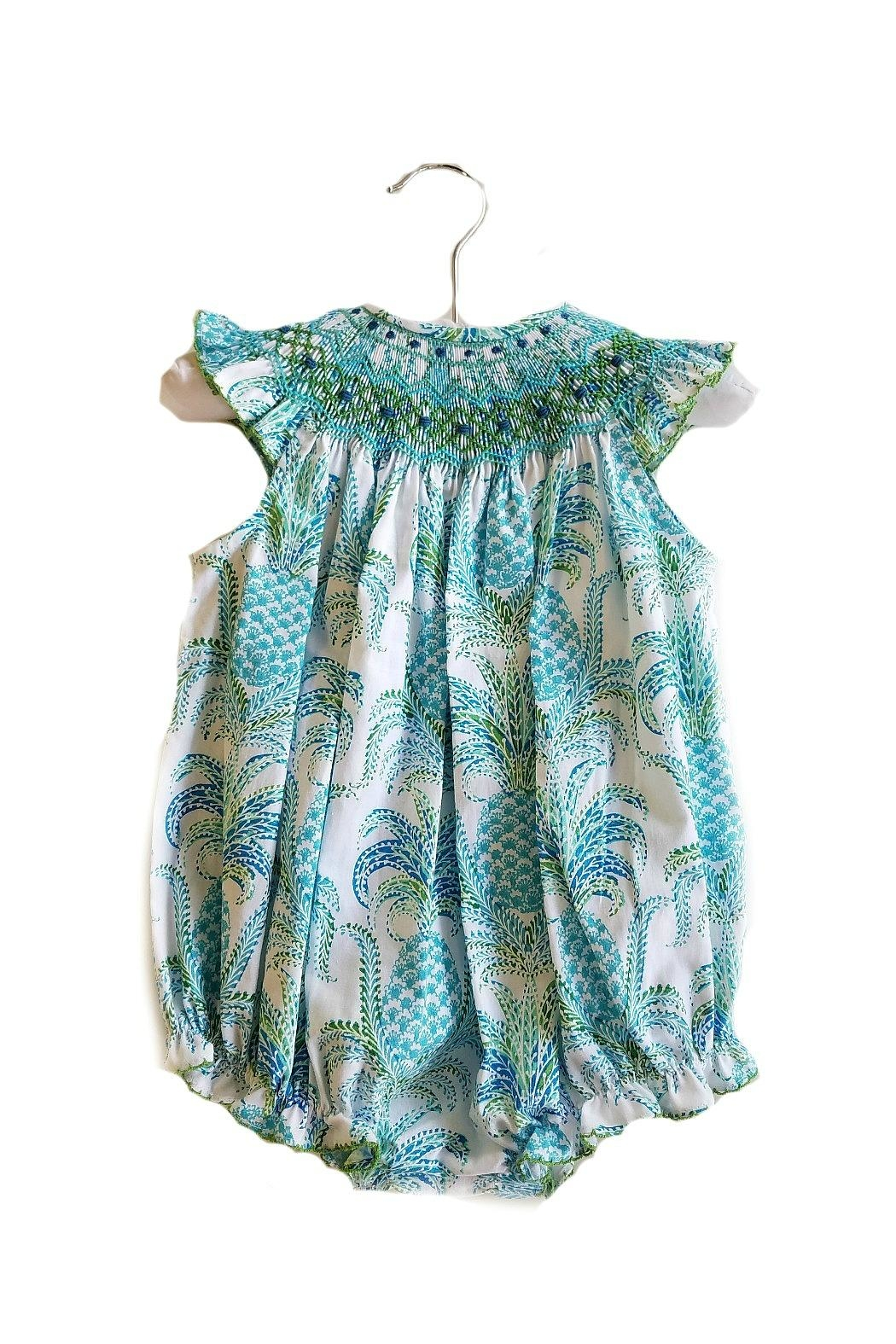 Le Za Me Pineapple-Print-Aqua-Blue-Smocked-Bubble - Main Image