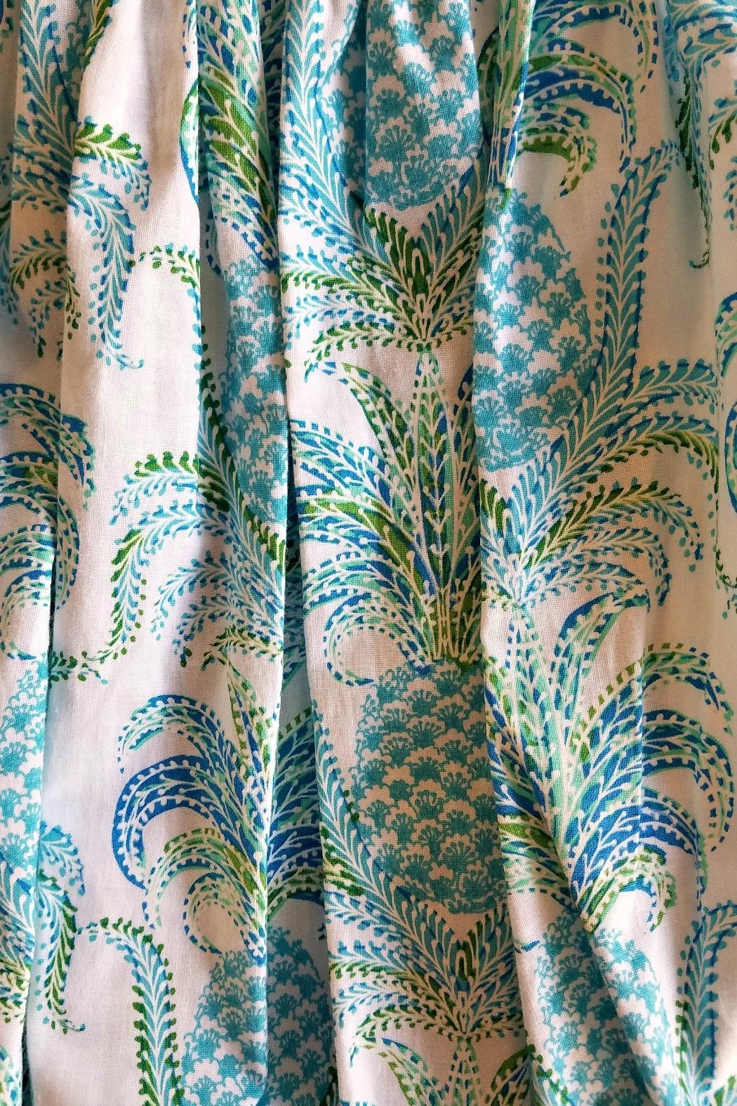 Le Za Me Pineapple-Print-Aqua-Blue-Smocked-Bubble - Front Full Image