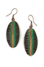 Anju Handcrafted Artisan Jewelry LEAF BRONZE /GREEN ER - Product Mini Image