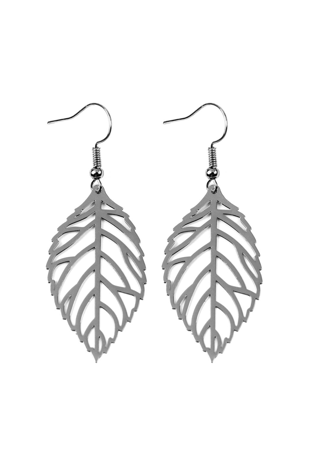 Riah Fashion Leaf-Cast Hook-Earrings - Front Cropped Image