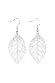 Riah Fashion Leaf-Cast Hook-Earrings - Front cropped
