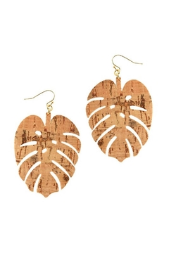 Fashion Jewelry Leaf Cork Earrings - Alternate List Image