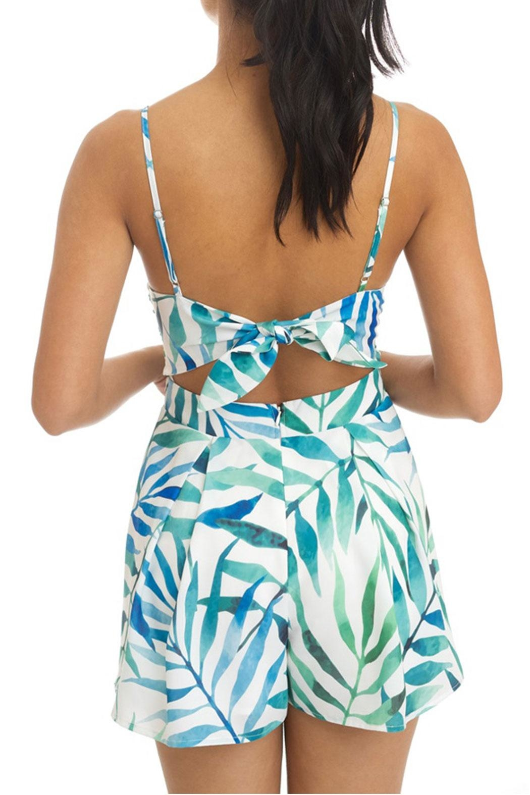 luxxel Leaf Cutout Romper - Front Full Image