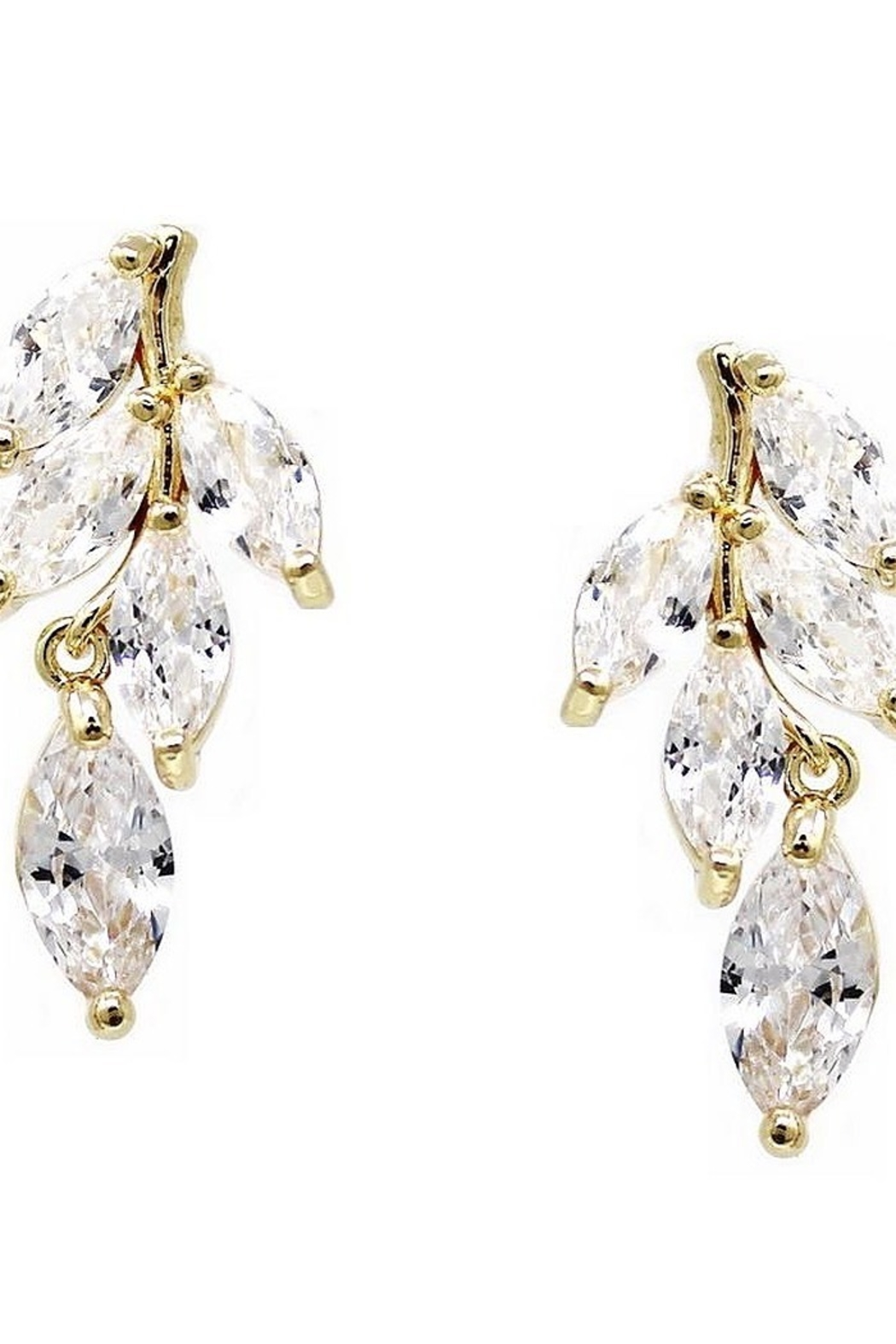 US Jewelry House Leaf CZ Earrings - Front Cropped Image