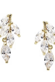 US Jewelry House Leaf CZ Earrings - Front cropped