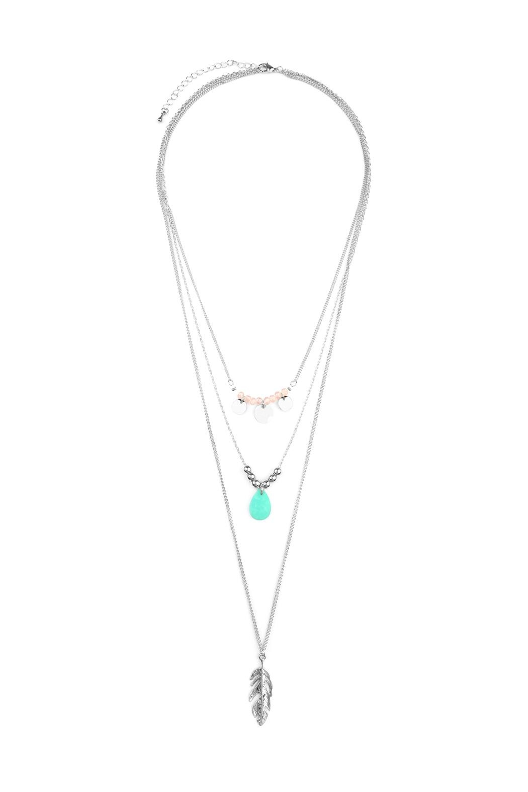 Riah Fashion Leaf-Multi Pendent-Three Layer-Necklace - Front Cropped Image