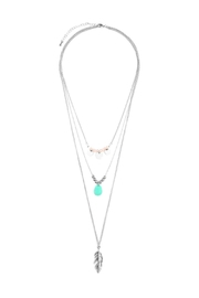 Riah Fashion Leaf-Multi Pendent-Three Layer-Necklace - Front cropped