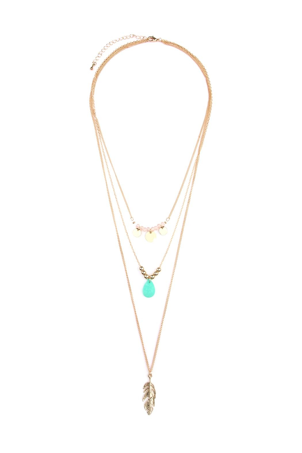Riah Fashion Leaf-Multi Pendent-Three Layer-Necklace - Main Image
