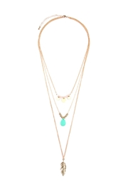 Riah Fashion Leaf-Multi Pendent-Three Layer-Necklace - Product Mini Image