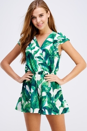 Love Song Leaf Print Romper - Front cropped