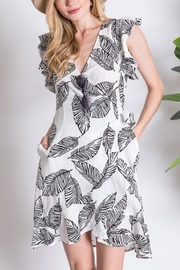 Lyn -Maree's Leaf Print Ruffle Dress - Front cropped